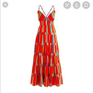 NWT Tiered Maxi Dress in Red Multi Stripe